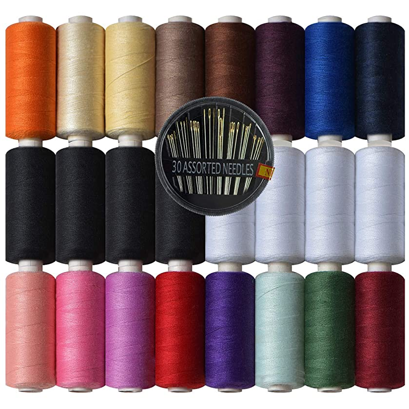 Polyester Sewing Thread-24 Spools All Purpose Polyester Thread Assortment Sewing kit with Free Set 30 Needles for Hand & Machine Sewing