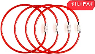 Silipac Metal Cable Key Ring Keychain 6.3 inches Heavy Duty Tough Stainless Steel Wire Tags Durable Luggage Tag Loops Keychains 2 mm Key Rings Strong Pack of 4 (6.3 inches 2 mm, Red)