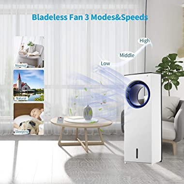 Evaporative Air Cooler,Portable Quiet Cooling Fan & Humidifier with Remote Control and 2 Ice Crystal Boxes,1-Gallon Water