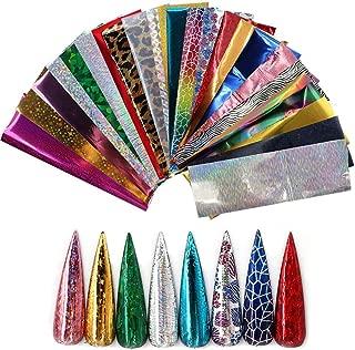Nail Art Stickers, Foonee 24 Pack Starry Sky Stars Nail Art Foil Transfer Stickers, Nails Design Sticker Foil Transfer Adhesive Glitters DIY Decoration