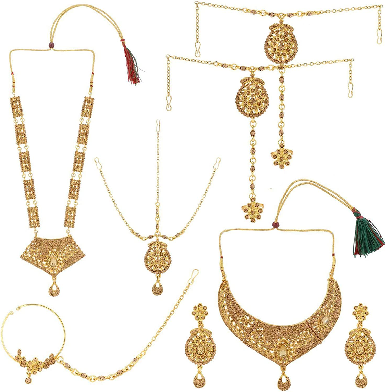 Efulgenz Indian Jewelry Bollywood Bridal Wedding Rhinestone Crystal Necklace Earring Maang Tikka Head Chain Nose Ring Bracelet Jewelry Set