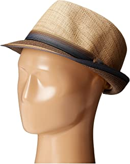 SCALA - Matte Raffia Braid Fedora with Strip Ribbon Band