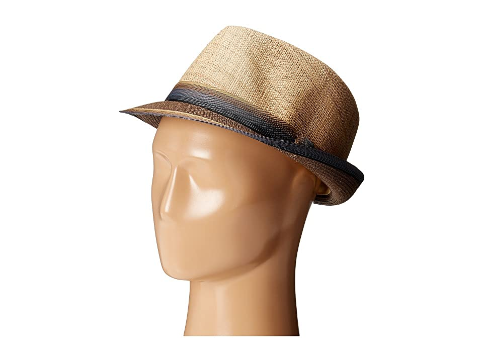 SCALA Matte Raffia Braid Fedora with Strip Ribbon Band (Brown) Fedora Hats