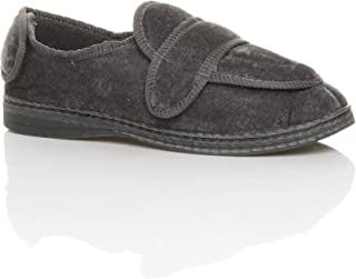 Ajvani Men's Diabetic Orthopaedic Memory Foam Wide Fit Adjustable Slippers Size