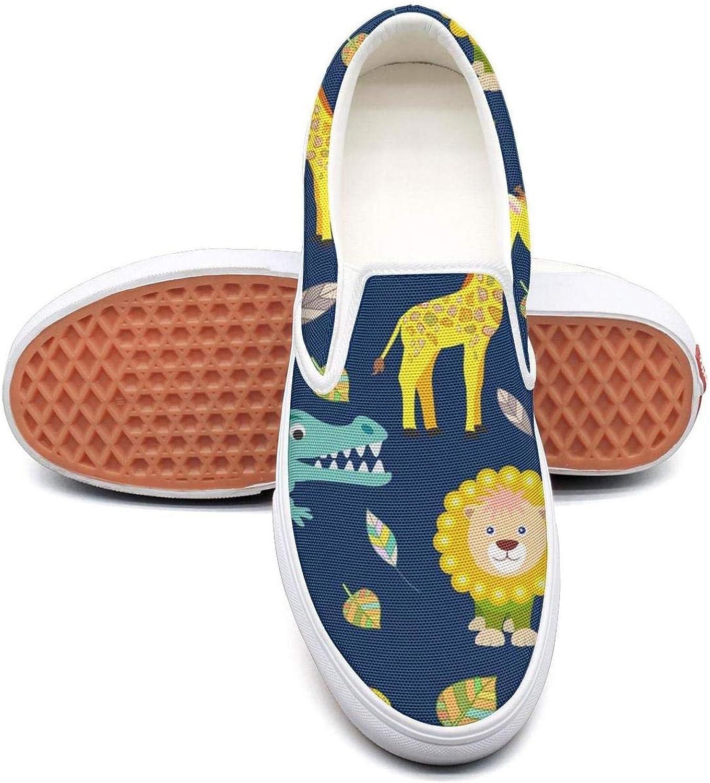 Refyds-es Kawaii Animal Giraffe and Lion Womens Fashion Slip on Low Top Lightweight Canvas Sneaker