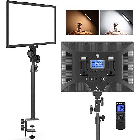 卓上用LEDビデオライト Pixel P50 オンライン Zoom ビデオ会議ライト デスクマウントスタンド/ライトリモコン付き 配信撮影照明用 リモートライト 45W 3000K-8000K 3800Lux 調光可能 ポートレート/インタビュー/自撮り/写真撮影/動画撮影適用