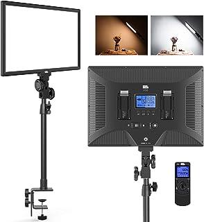 LED ビデオライトPixel P50 オンライン会議 ライト デスクマウント 二色撮影照明ライトセット ワイヤレスライトリモコン付き 45ワット 3000K-8000K 3800Lux 調光可能 Cクランプスタンド 写真フィルライト パネルラ...