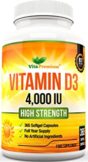 Vitamin D 4,000 IU, Maximum Strength Vitamin D3 Supplement,