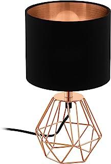 EGLO Lampe de table CARLTON 2, 1 lampe à poser vintage à flamme, lampe de chevet en acier et en tissu, couleur : cuivre, n...
