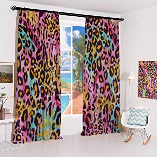 GUUVOR Leopard Print Sunshade Sunscreen Curtain Mottled Exotic Panthera Skin Pattern Colorful Camouflage Style Safari Theme Soundproof Shade W52 x L63 Inch Multicolor