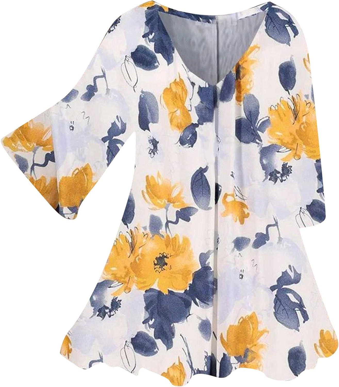iQKA Women Shirt Dress Bell Sleeve V Neck Casual Loose Tunic Tops Bohemian Floral Print Summer Fall T-Shirt Blouse