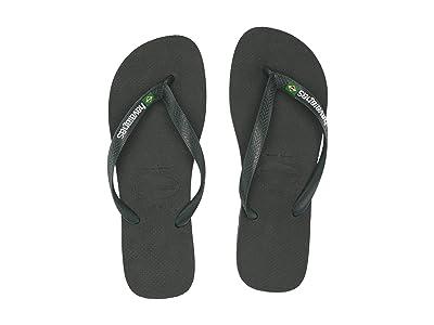 Havaianas Brazil Logo Flip Flops (Olive Green) Men