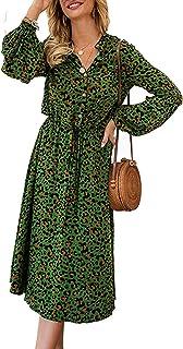 SotRong - Abito da donna a vita alta, con scollo a V, stile retrò, boho, a maniche lunghe, con coulisse