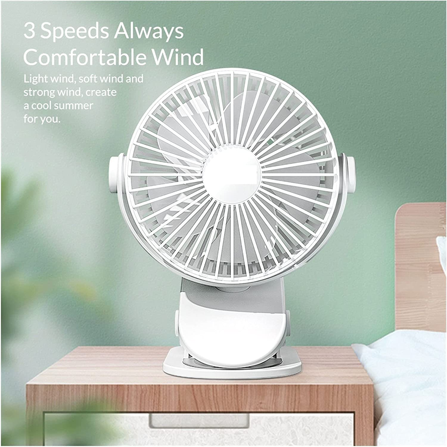Lingwu Clip On Fan for Max 84% OFF Portable Tucson Mall Stroller Rechargeable Oper Baby
