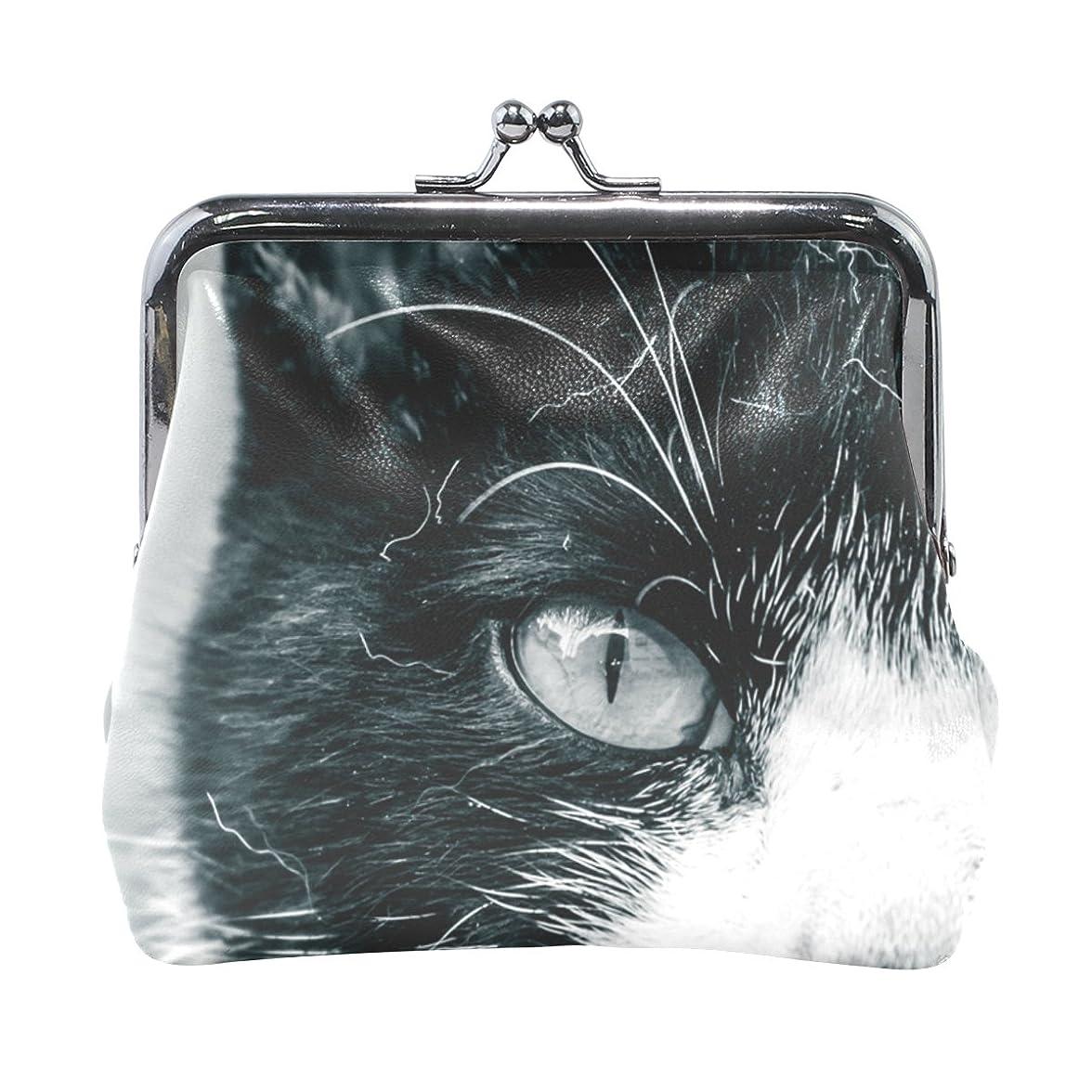 肘投獄嫌がらせAOMOKI 財布 小銭入れ ガマ口 コインケース レザー ねこ タコ 驚く ブチネコ 猫