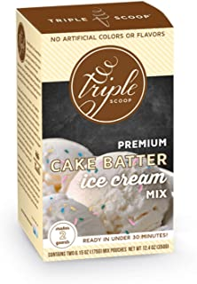 Triple Scoop Premium Ice Cream Mix, Cake Batter with Sprinkles, starter for use with home ice cream maker, no artificial flavors, ready in under 30 mins, makes 2 qts (1 15oz box)