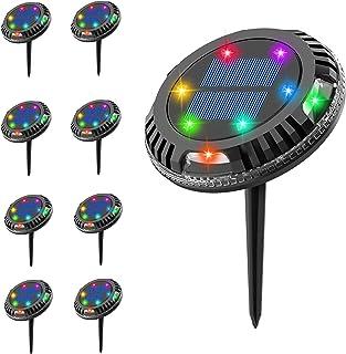 JYDNBGLS 8 Pack Solar Garden Lights Outdoor, 10 LED Solar Ground Lights, Waterproof Disk Lights with 2 Modes Color Changin...
