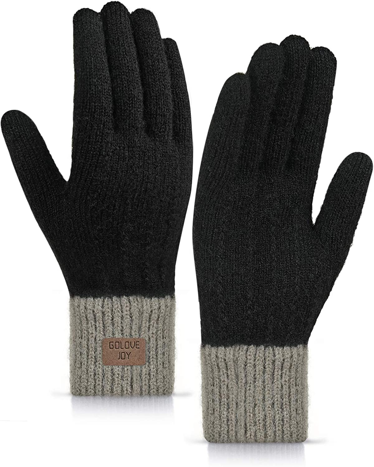 TRENDOUX Winter Gloves for Women - Touch Screen Glove Girl - Thick Cuff - Thermal Lining - Like-Alpaca Stretchy Material