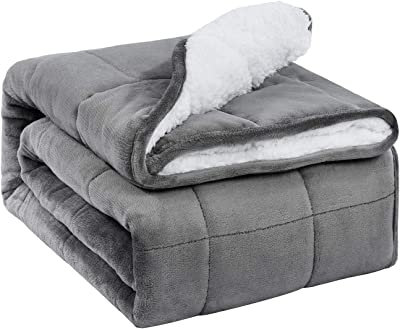 """Weighted Blanket Full Size 20lbs for Adults, Uttermara Sherpa Fleece Weighted Blanket with Cozy Plush Flannel, Fluffy Warm Sherpa Snuggle Bed Blanket, Great for Relax & Calming, 60"""" x 80"""", Grey"""
