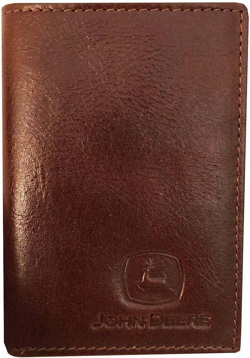 John Deere Men's Brown Leather Tri-Fold Wallet - LP70602