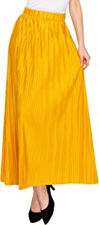 Womens Ankle Length Pleated Maxi Skirt - Made in USA