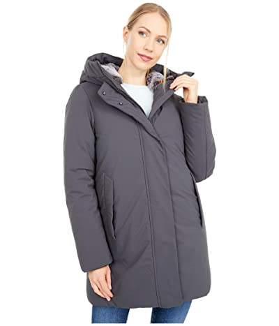 Save the Duck Faux Fur Lined Hooded Parka (Grey/Black) Women