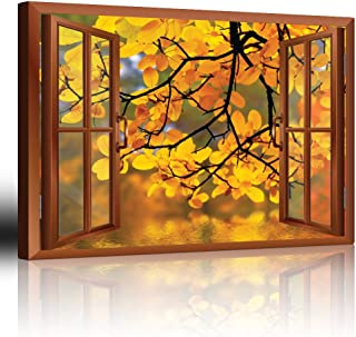 wall26 - Modern Copper Window Looking Out Into a Yellow Tree Framing a Lake - Canvas Art Home Decor - 24x36 inches