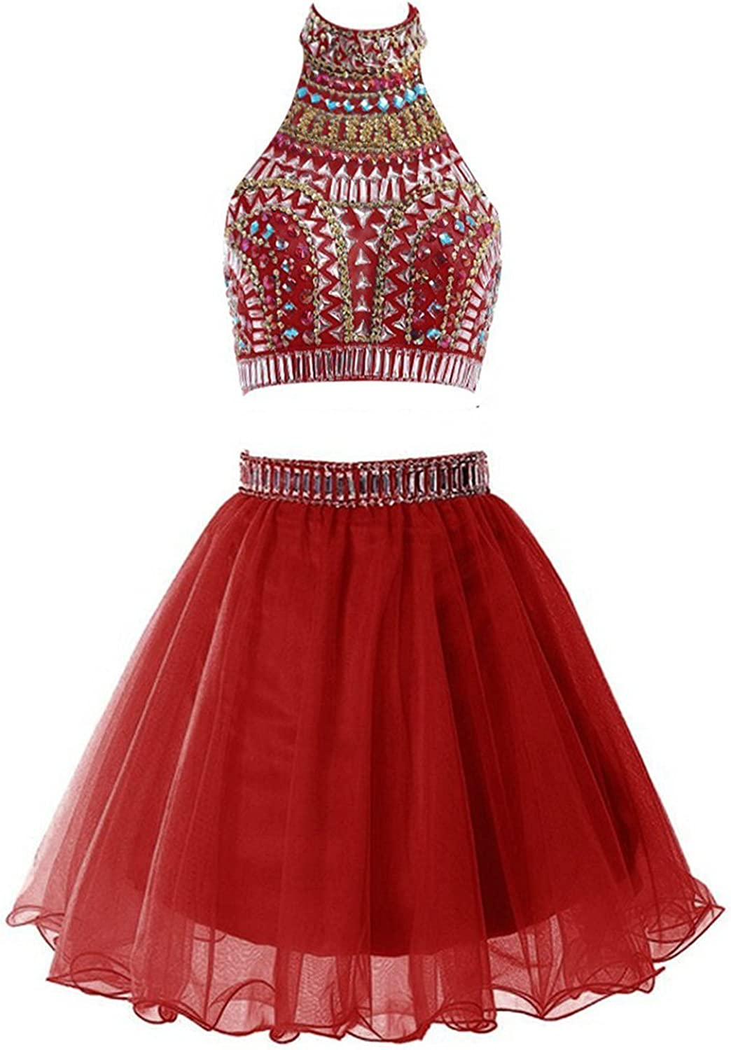 Ellenhouse Women's Two Pieces Short Beaded Halter Homecoming Prom Dress EL052