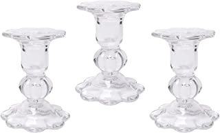 Hosley Set of 3 Glass Taper Candle Holders 3.9 Inch High Classic Decor for Wedding Party Gifts Spa Aromatherapy W1