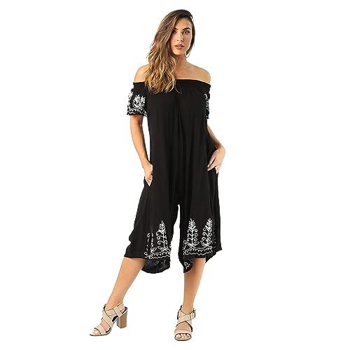 Riviera Sun Womens Off Shoulder Embroidered Jumpsuit Romper 23e89c985