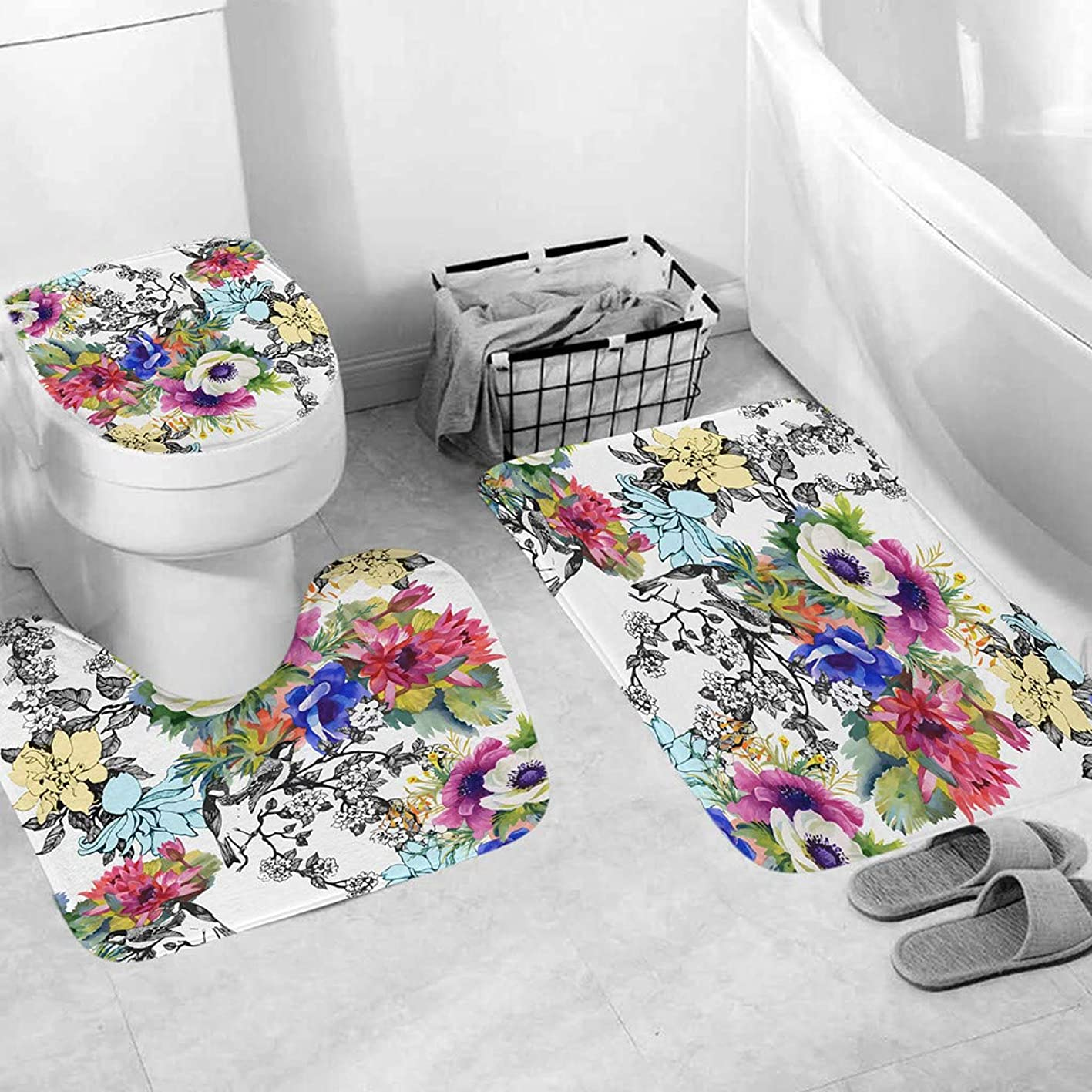 OrchidAmor 3pcs Non-Slip Bath Mat Bathroom Kitchen Carpet Doormats Decor 2019 New Fashion kmqphfolpiw933