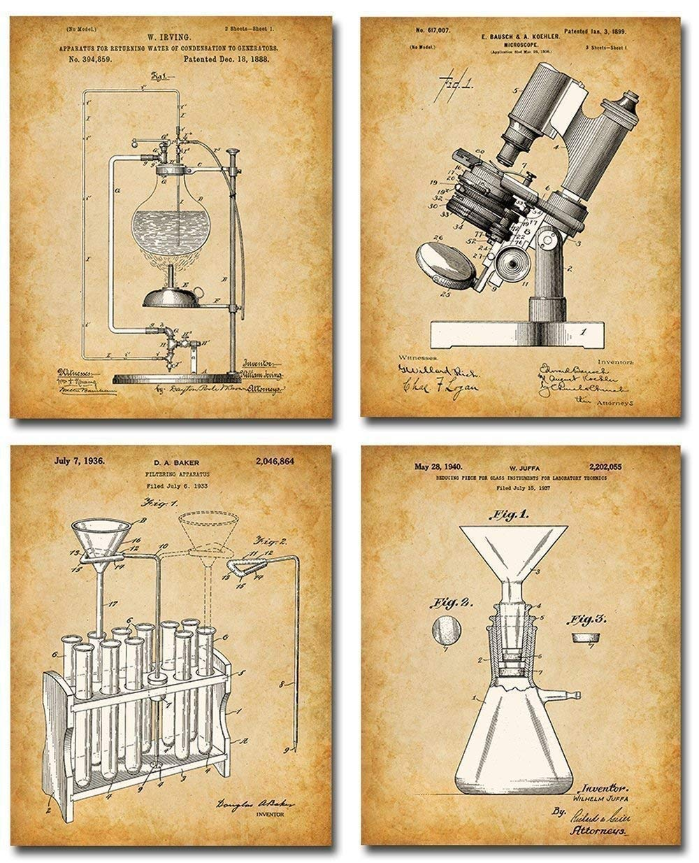 Original Science Max 60% OFF Lab Equipment Patent Prints OFFicial store - Four of Photo Set