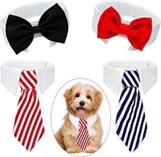4 Pieces Pet Bow Tie Adjustable Pet Neck Tie Costume Formal Dog Collar for Small Dogs and Cats Puppy Grooming Ties Party Accessories