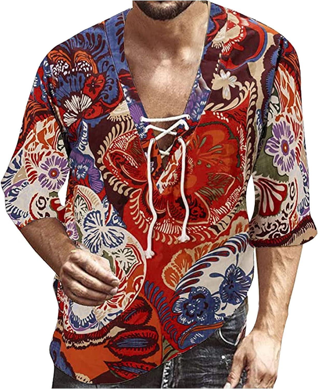 Lovor Men's Linen Traditional Pattern Print Short Sleeve Deep V Neck Drawstring Print Hawaiian Beach Vacation Shirts Tops