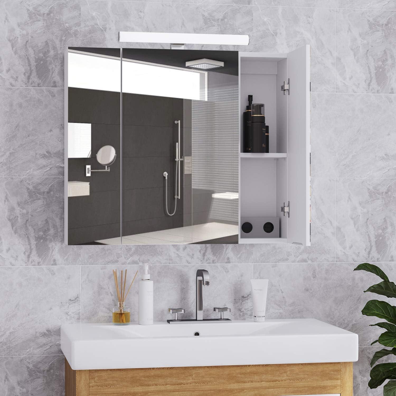 DICTAC spiegelschrank Bad mit LED Beleuchtung,Steckdose und ...