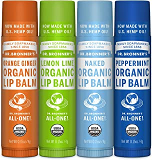 Dr. Bronner's - Organic Lip Balm (4-Pack Variety Peppermint, Orange Ginger, Naked, Lemon Lime) - Made with Organic Beeswax...