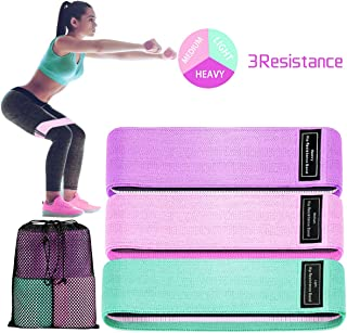 Fabric Resistance Booty Band Loop,  Non-Slip Elastic Workout Exercise Bands,  Cotton and Rubber Fabric,  Stretch Hip Bands for Legs,  Butt,  and Yoga,  3 Pack Set