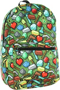 Minecraft Sword Pickaxe Items All Over Sublimated Print Laptop Backpack Bag