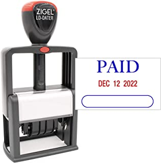 ZIGEL Heavy Duty Style Self Inking Date Stamp with Paid - Style A - Blue/Red 2 Color Ink