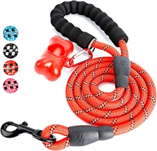 Toozey 5 FT Dog Leash, Rope Leash with Comfortable Padded Handle and Reflective Threads, Heavy Duty Braided Leash for Medium Large Dogs