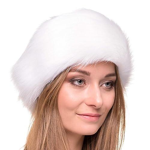 Faux Fur Wrap Head Ring Hat Women Fluffy Russian Hair Band Ski Cap Neckerchief