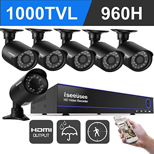 ISEEUSEE 8 Channel 960H DVR Home Video Surveillance System With HDMI Ouput 6pcs 720P Weatherproof Night