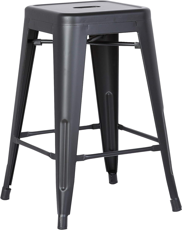 Home Roots Furniture 24  H Metal Backless Barstool, Matte Black - Set of 2