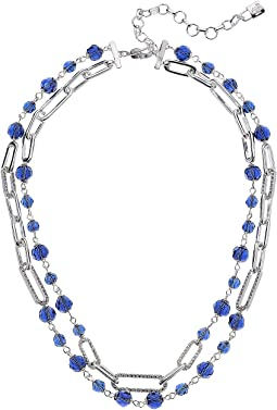 "16"" 2 Row Bead Link Collar Necklace"