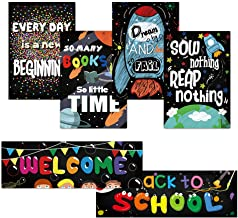 Classroom Banners and Posters 6-Pack Laminated Chalkboard Back to School Welcome Motivational Quote for Teachers Classroom Decorations, Door Decorations and Preschool