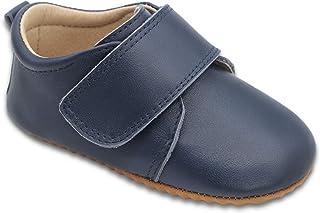 Dotty Fish Chaussures bébé Classiques en Cuir pour garçons. Semelles Antidérapantes. Bleu Marine at Marron. (18.5-24 EU)