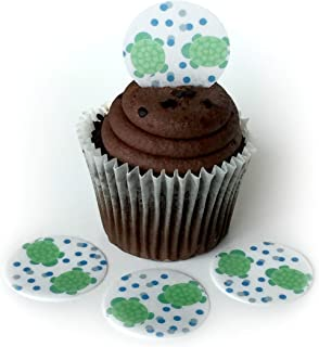 Baby Turtle Polka Dots Wafer Paper Toppers 1.5 Inch for Decorating Desserts Cupcakes Birthday Cakes Cookies Pack of 12