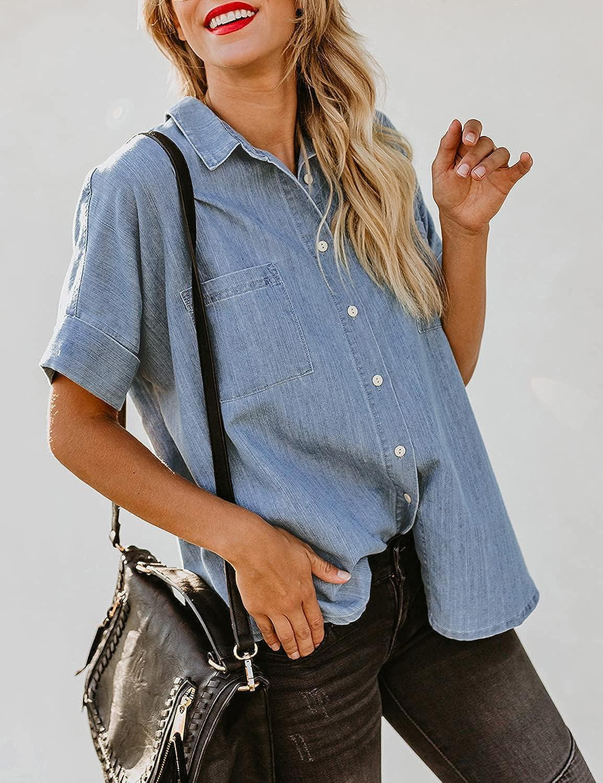 luvamia Women's Denim Shirts Casual Short Sleeve V Neck Button Down Blouses Tops