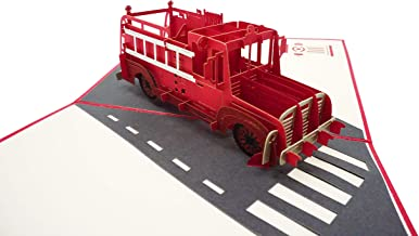 WOWPAPERART Firetruck - 3D Pop Up Greeting Card for All Occasions Birthday, Love, Congrats, Good Luck, Anniversary, Get Well, Good Bye, Retirement, Thank You, Travel - Premium, Handcrafted