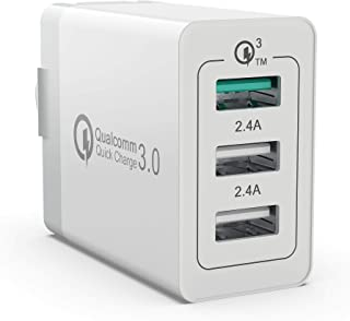 Quick Wall Charger 30W Qualcomm 3-Port USB Travel Cell Phone Fast Charging Foldable Plug Smart IC Charger Power Adapter for iPhone and More (White)